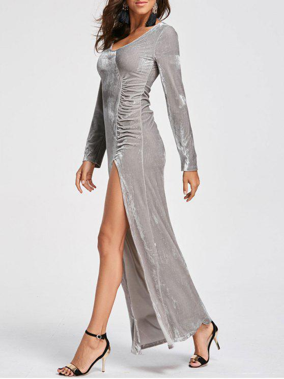 womens High Slit Velvet Maxi Dress - SILVER M