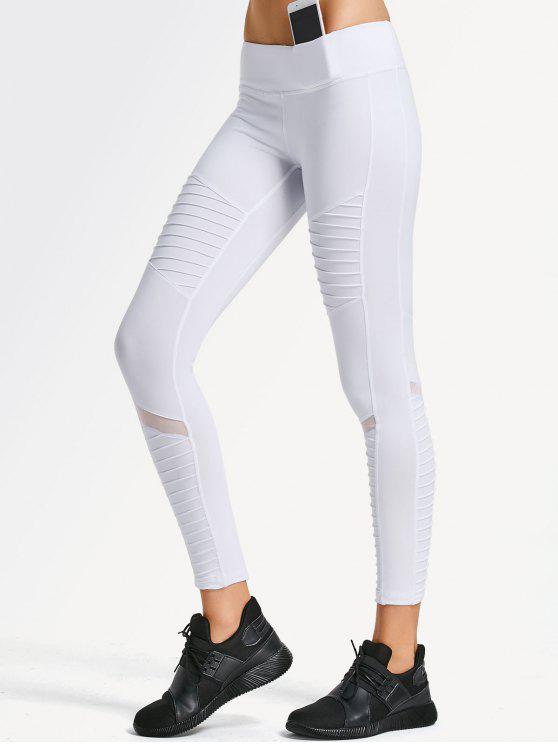 32d1bc80fc369 19% OFF  2019 Textured Mesh Panel Yoga Leggings In WHITE S