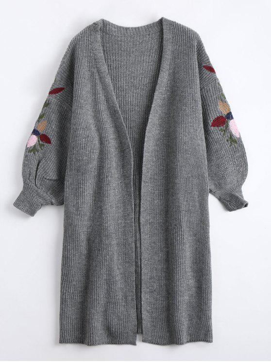 best Collarless Embroidered Drop Shoulder Cardigan - GRAY ONE SIZE
