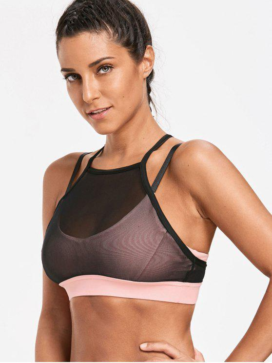 shops Mesh Tube Sports Strappy  Bra - LIGHT PINK L