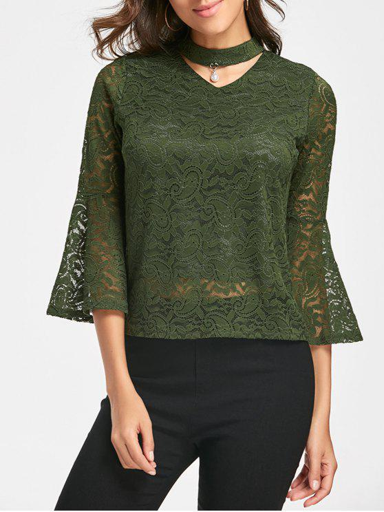 affordable Lace Flare Sleeve Choker Top - GREEN XL