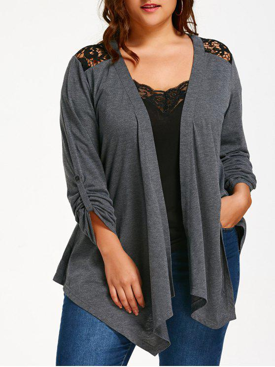 hot Plus Size Lace Panel Long Sleeve Cardigan - GRAY XL