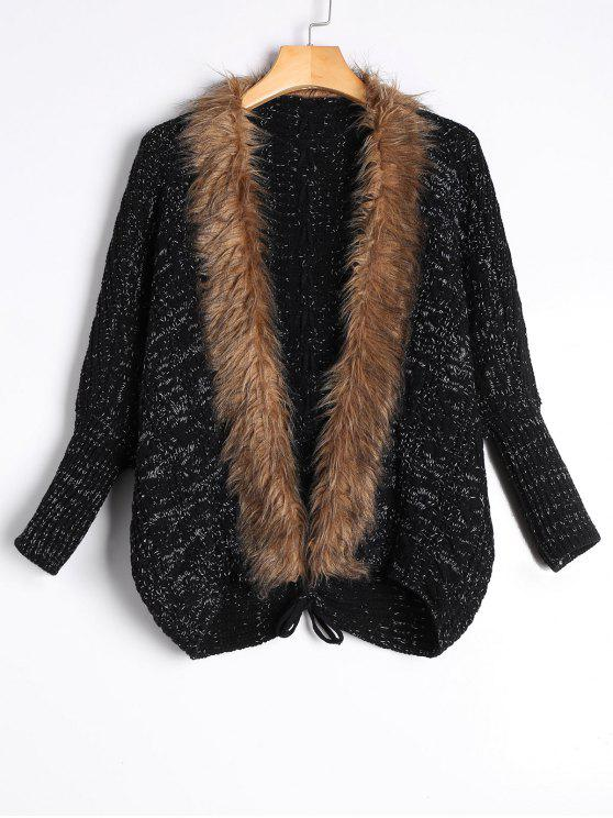 outfit Faux Fur Trimmed Cable Knit Cardigan - BLACK ONE SIZE