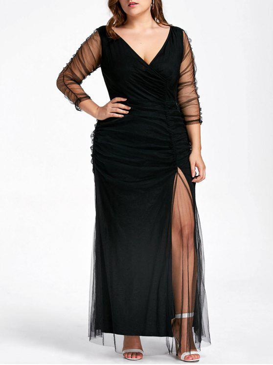 shop Plus Size Ruched Sheer Formal Dress - BLACK 5XL