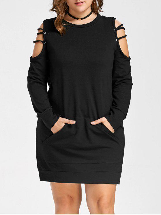 فستان الحجم الكبير مفتوحة الكتف - أسود 5XL