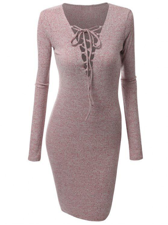 فستان الحجم الكبير محبوك رباط - اللون الخمري الحمراء XL