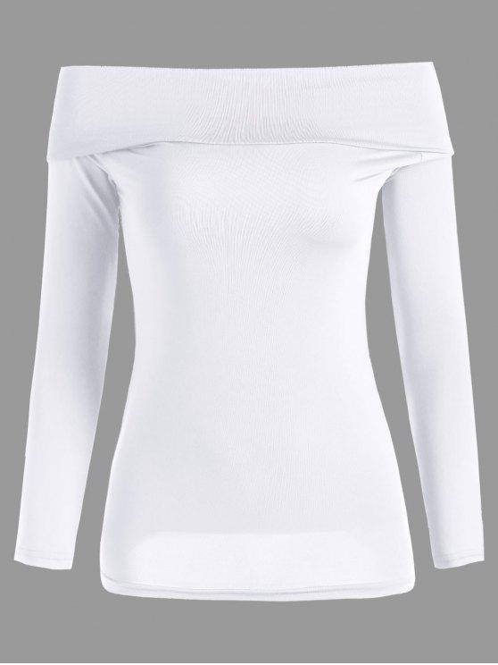 Convertible de manga larga de la camiseta del hombro - Blanco Talla única