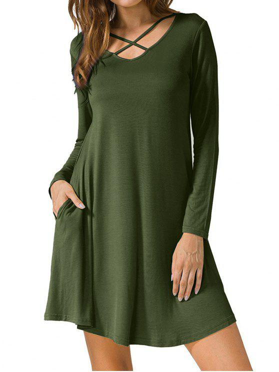 289a89408048 34% OFF] 2019 Criss Cross Long Sleeve T Shirt Dress In ARMY GREEN ...