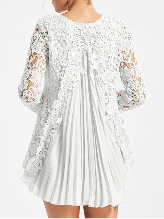 6c6da0f4d5cf3a 27% OFF] 2019 Long Sleeve Pleated High Low Lace Blouse In WHITE | ZAFUL