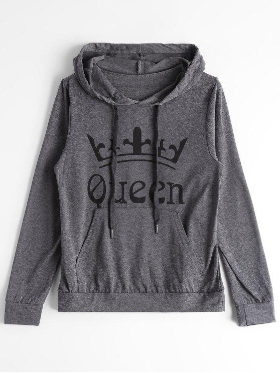 sale Front Pocket Letter Drawstring Hoodie - DEEP GRAY S
