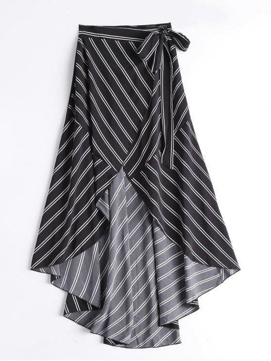 تنورة لف غير متماثلة عالية الخصر مخطط - أسود XL