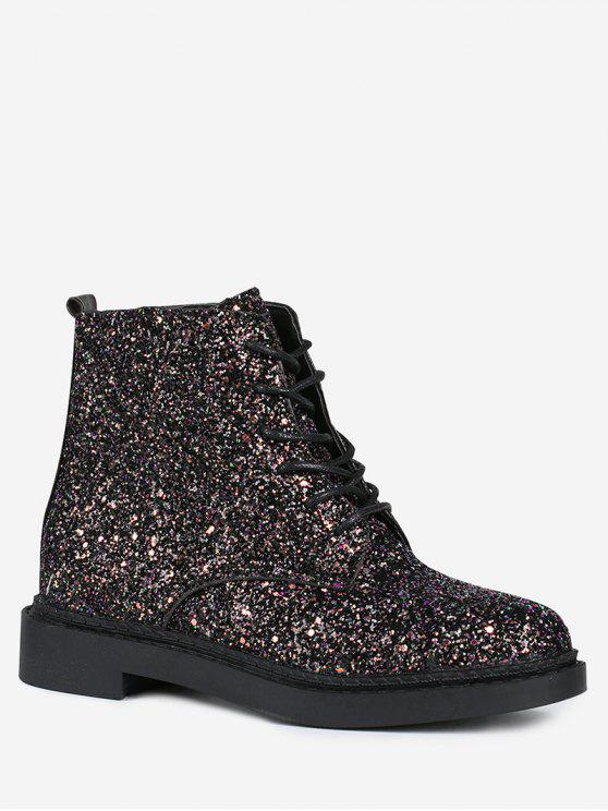 best Lace Up Glitter Short Boots - BLACK 37