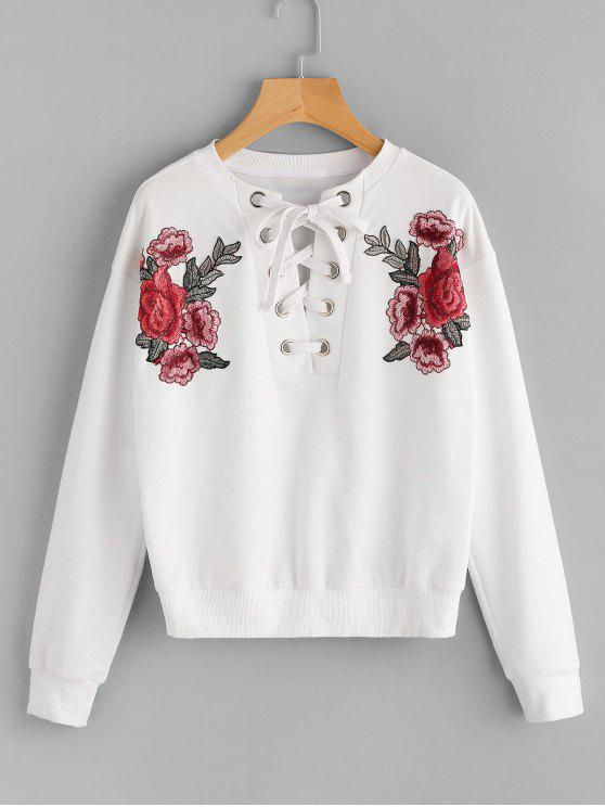 fancy Lace Up Floral Patched Sweatshirt - WHITE M