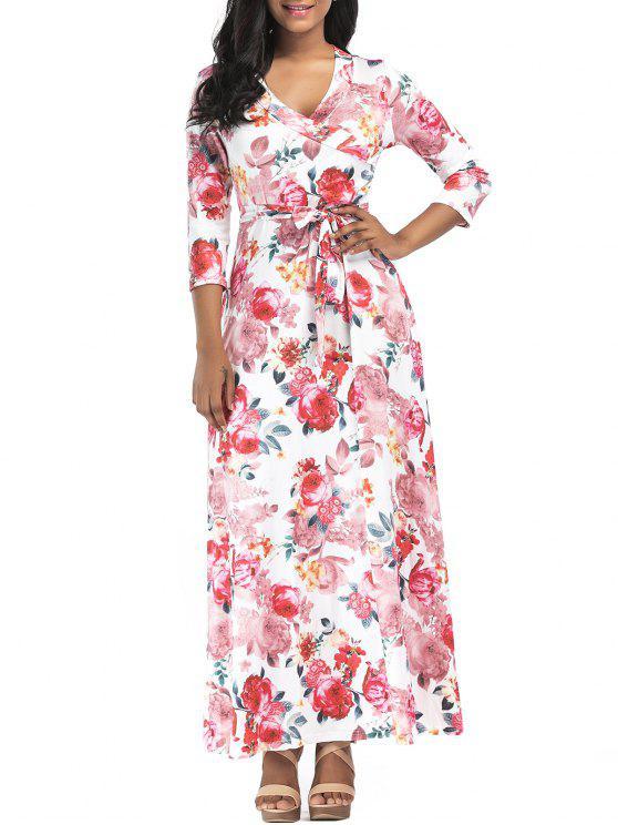 2019 Rose Print Surplice Maxi Dress In COLORMIX S  a0f3a1ec4