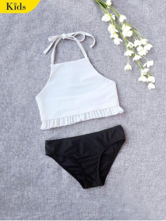 Ruffles Halter Kids Bikini - Blanco 6T