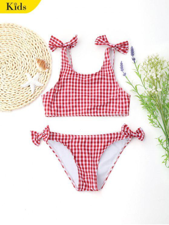 fancy Plaid Bowknot Kids Bikini Swimwear - RED 5T