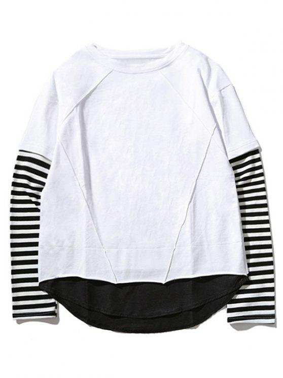 ladies Crew Neck Stripe Panel T-shirt - WHITE 2XL