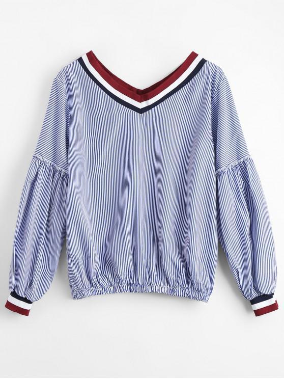 Blusa de cuello redondo con cuello en V - Raya Única Talla