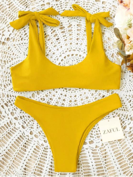 Scoop Tie Hombro acolchado traje de baño - Amarillo S