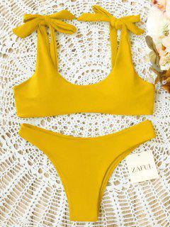 Scoop Riemchen Schulter Gepolsterter Badeanzug - Gelb Xl