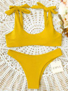 Scoop Tie Shoulder Padded Bathing Suit - Yellow L