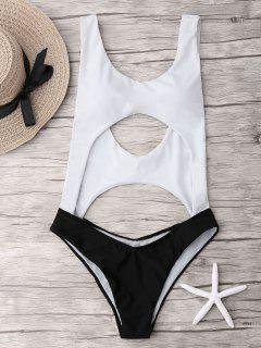 Two Tone Cut Out One Piece Swimsuit - White And Black L