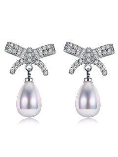 Faux Pearl Rhinestone Bows Teardrop Earrings - Silver