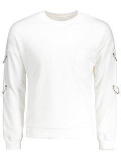 Metal Ring Chest Pocket Sweatshirt - White L