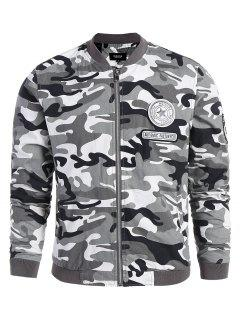 Applique Camo Bomber Jacket - Gray L