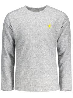 Sun Bordó La Camiseta Larga De Lino De La Manga - Gris Xl