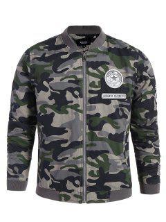 Applique Camo Bomber Jacket - Army Green L