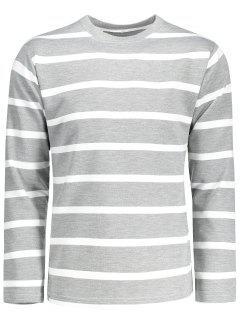 Camiseta De Manga Larga Con Rayas - Gris Xl