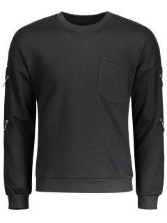 Metal Ring Chest Pocket Sweatshirt - Black 2xl