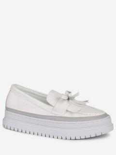 Bowknot Fringed Slip On Platform Shoes - White 37