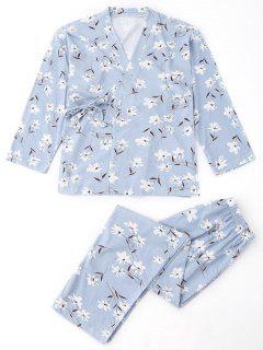 Floral Wrap Kimono And Pants Pajamas Suit - Light Blue L