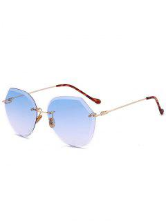 Ombre Lens Metallic Legs Rimless Sunglasses - Light Blue