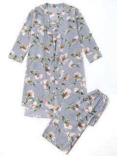 Pyjamas Floral Kimono Und Cami Top Und Hosen - Blaugrau Xl