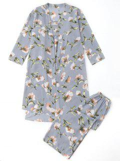 Pajamas Floral Kimono And Cami Top And Pants - Blue Gray L