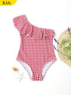 Plaid One Shoulder Kids Swimwear - Red 8t