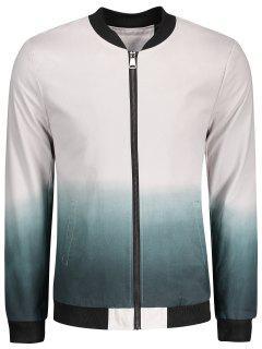Zip Dip Dye Bomber Jacket - White 2xl