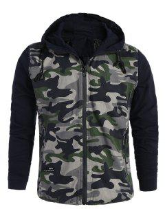 Mens Hooded Camo Jacket - Army Green Xl