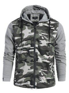 Mens Hooded Camo Jacket - Gray Xl
