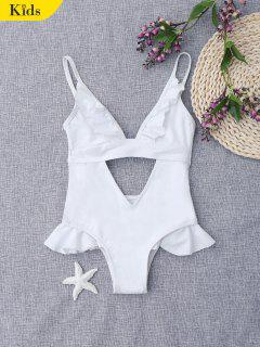 Ruffles Cut Out Bowknot Kids Swimwear - White 8t