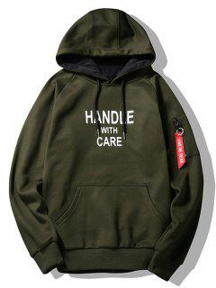 Flocking Handle With Care Graphic Hoodie - Army Green 2xl