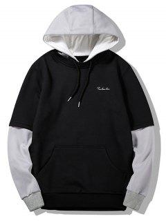 Flocking Two Tone Hoodie - Black L