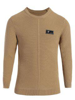 Mens Applique Crew Neck Sweater - Khaki 2xl