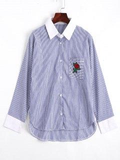 Rose Brodé Stripes High Low Shirt - Rayure M