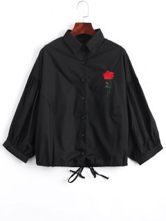 Bow Tied Rose Embroidered Shirt - Black