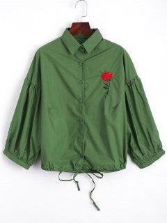 Chemise Brodée à L'arc Tied Rose - Vert