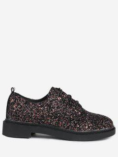 Low Top Glitter Tie Up Flat Shoes - Black 38